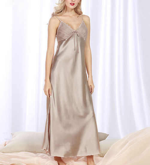 Sexy String Long Dress Satin Fabric Maxi Pajamas for Women pictures & photos