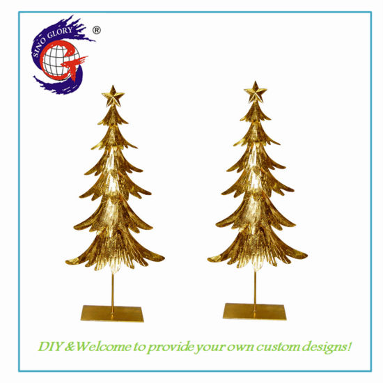 Christmas Tree Sculptures House Ornaments Handmade Iron Metal for Garden Decoration