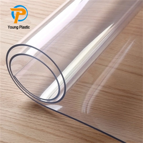 China Clear Pvc Table Cover Transparent Plastic Thick Vinyl Table