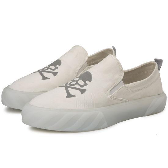 Reflective Skull Set Foot Tide Shoes Shoes Men's White Shoes Breathable Canvas Shoes