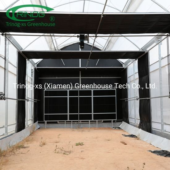 Low cost light deprivation fan and cooling pad system greenhouse for sale