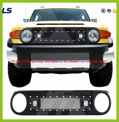 Black Stainless Steel Wire Mesh Packaged Grille with Two LED Lights for 07-15 Toyota Fj Cruiser