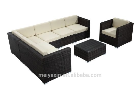 Modern Outdoor Garden 7 Piece Sectional Sofa Poly Rattan Furniture