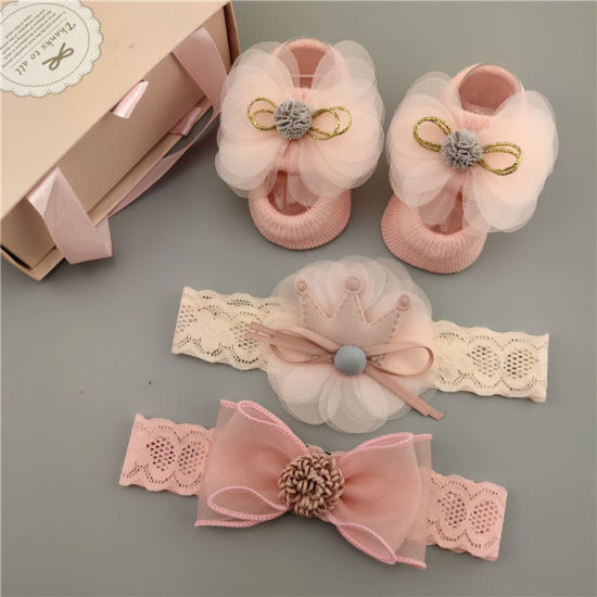 Newborn Bay Cute Fashion Soft Comfortable Socks Hot Sale Newborn Baby Sequin Lace Socks, Baby Headband Gift Set