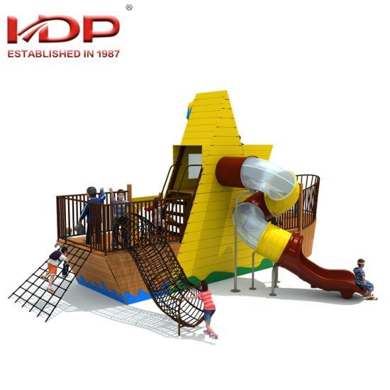 China Children Outdoor Playground Wooden Pirate Ship Series Slides