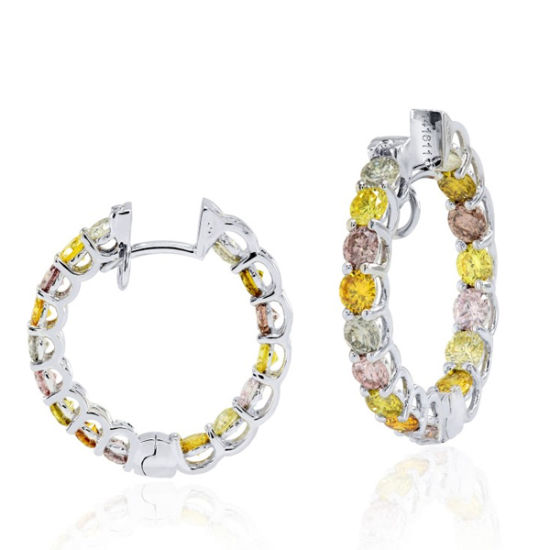 f67cc7a9b 925 Sterling Silver Assorted Colored Diamond Hoop Earrings Jewelry pictures  & photos