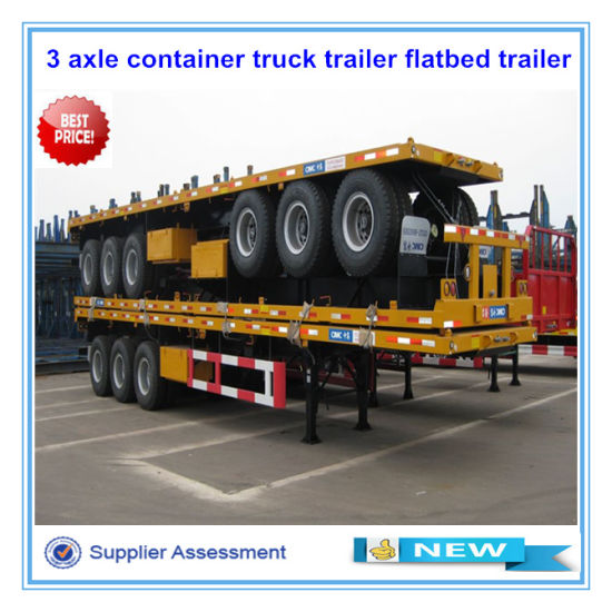 CIMC 3 Axles 40ft Flat Bed Container Semi Trailer pictures & photos