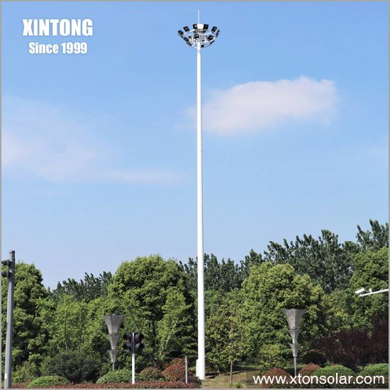 12m High Mast Galvanized Square Steel Solar Street Light with Pole Set Price