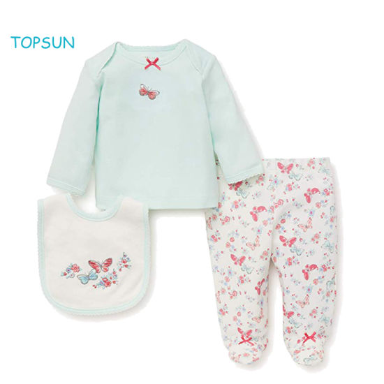 Newborn Infant Baby 3 PCS Clothes Children Pajamas Girl Outfits Gifts Layette Sets with Bib and Animal Printed