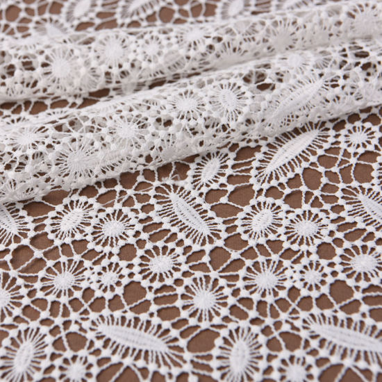 Recycled Polyester Hollow-out Water Soluble Embroidered Lace Fabric