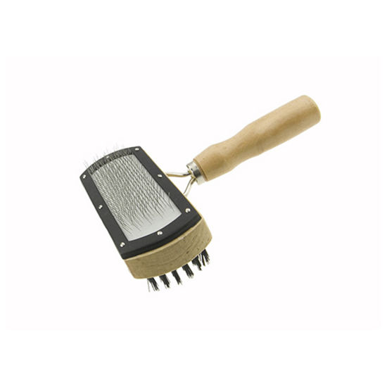 Double-Side Pet Grooming Brush with Wooden Handle