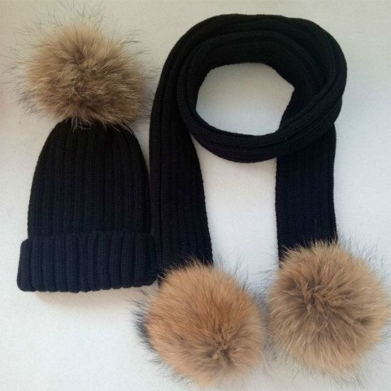 Women Winter Warm Real Raccoon Fur Ball Scarf pictures & photos
