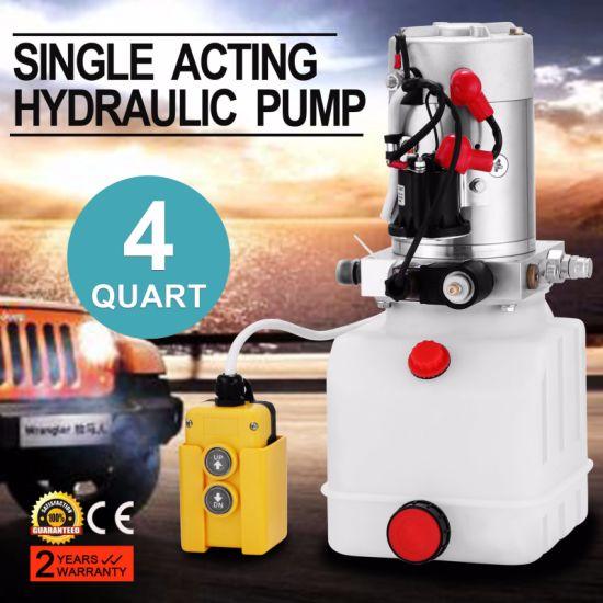 4 Quart Plastic Single Acting VEVOR Hydraulic Pump 4 Quart Single Acting Hydraulic Power Unit 12V DC Plastic Tank Hydraulic Pump Unit for Dump Trailer Car Lifting
