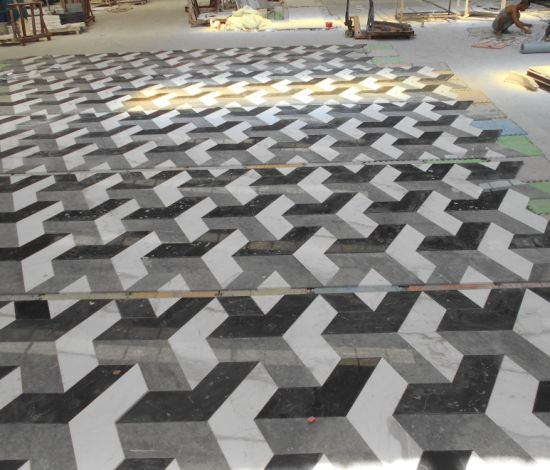 China Wholesale Floor Design Marble Pattern 3d Tile In Black And