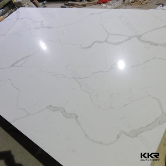 China White Design Artificial Marble Quartz Stone Big Slabs China - Fake marble slab