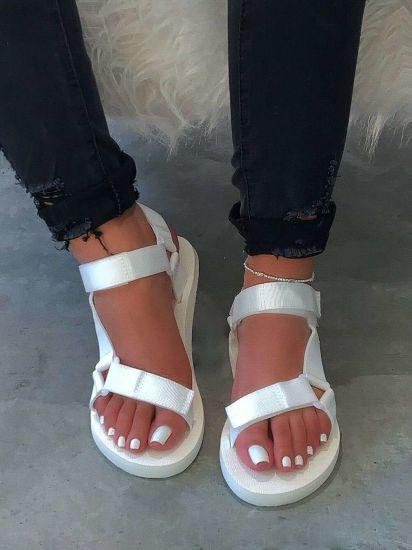 Straps Velcro Women Slippers, Multi