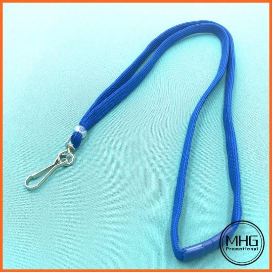 Royal Blue Flat Braid Polyester Lanyards with Breakaway