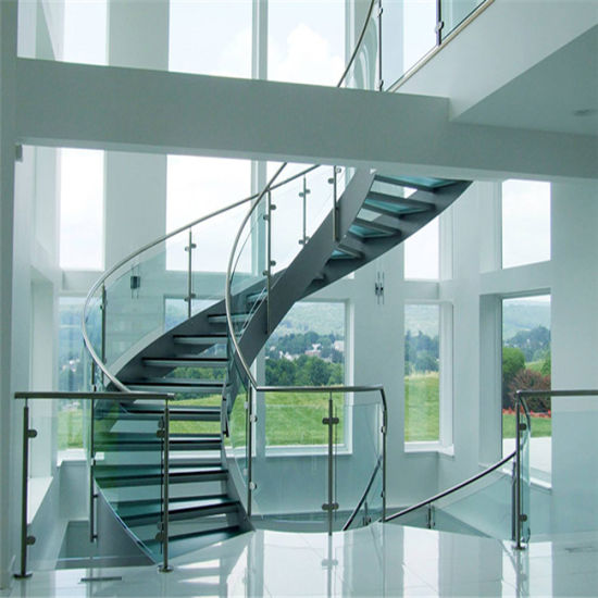 Wrought Rought Curved Stairs Types, Glass Curved Staircase With Railing