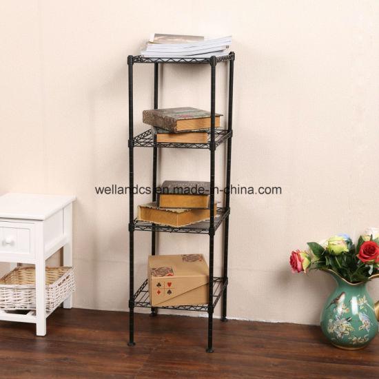 Square Metal Furniture Black 4 Shelf Small Corner Wire Storage Rack Shelving Unit