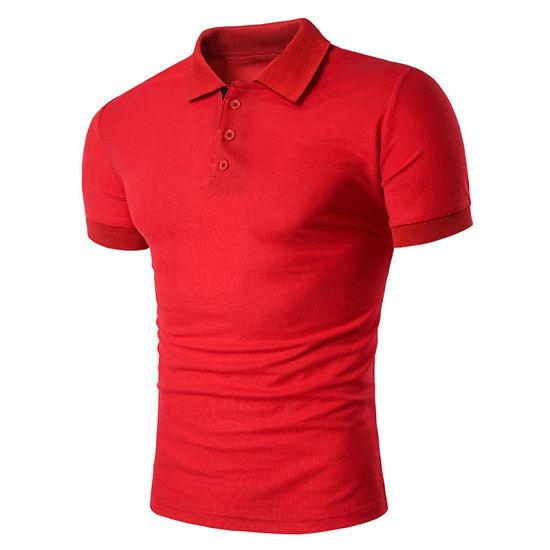 Customized Mens Short Sleeve Contrast Color Lapel Polo Tee Shirt