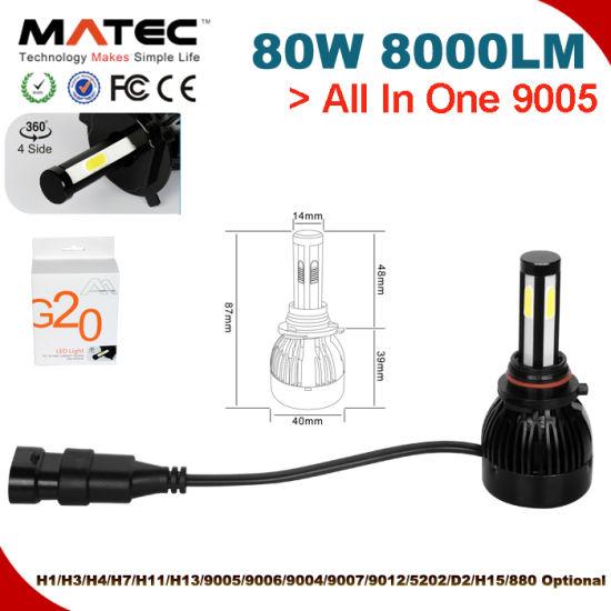 Hot G20 All in One 80W H4 H7 H11 9005 9006 H13 Car Auto LED Headlight Kit