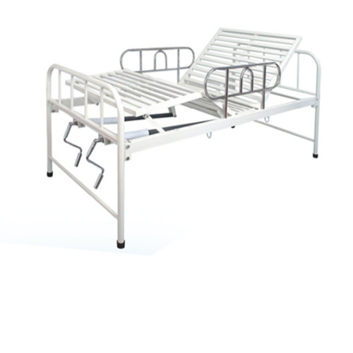 Portable S. S Siderails Steel Powder Coated Two Crank Manual Home Hospital Bed Medical Bed Homecare Bed Dimensions BS-829