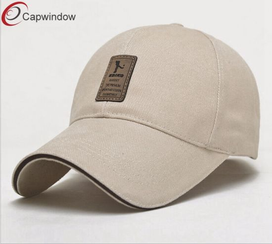 946aa775f5a 6 Panel Baseball Cap with Custom Genuine Leather Patch and Metal Buckle  pictures   photos