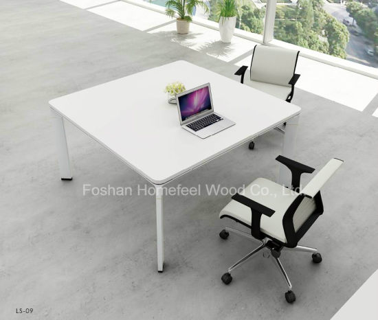 Fashion White Square Office Simple Design Meeting Table Furniture Hf Yz009