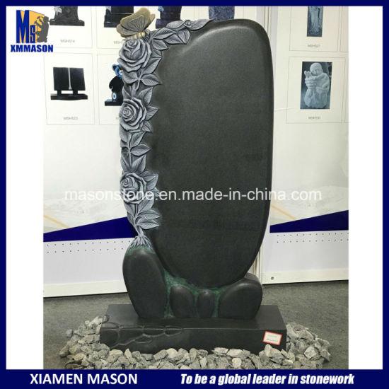 European Style Custom Absolute Black Granite Flower Rose Butterfly Sculpture Gravestone