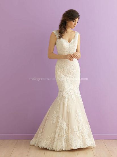 New Design Spaghetti Strap Backless Wedding Bridal Dress