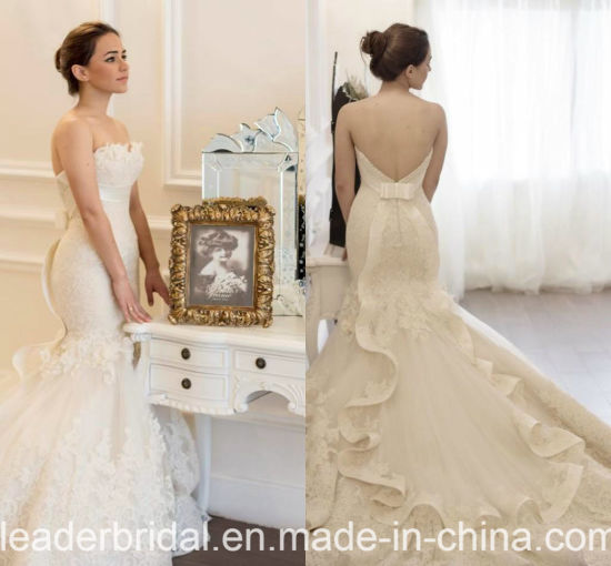 China Exquisite Bridal Gowns V-Back Mermaid Lace Wedding Dresses ...