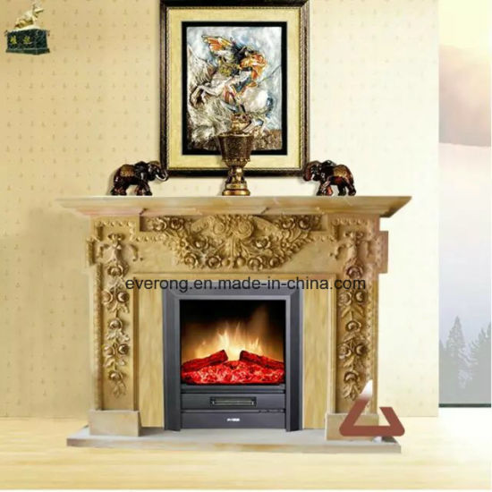 China Western Vintage Stone Mantel Marble Freestanding Fireplace For Sale China Marble Sculpture Fireplace Stone Carving Fireplace
