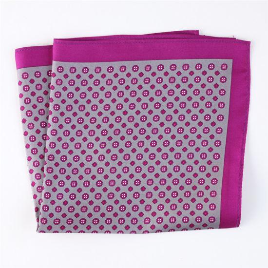 China Luxury Silk Polyester Dots Plaid Flower Printed Pocket