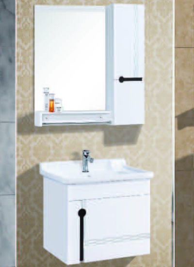 Mini Size PVC Bathroom Vanity Cabinet with Silver Mirror