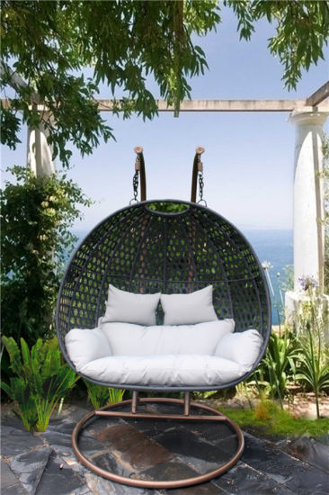 Patio Rattan Egg Shaped Swing Chair Wicker Hanging Single Seat