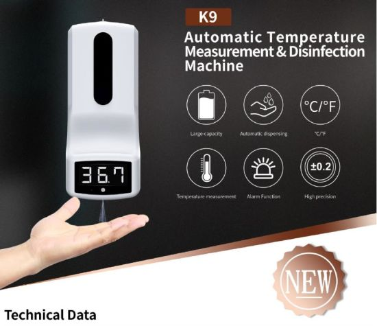 K9 PRO Intelligent Sensor Soap Dispenser Temperature Automatic Hand Sanitizer Alcohol Disinfect Soap Dispenser with Thermometer Infrared Thermometer Dispenser