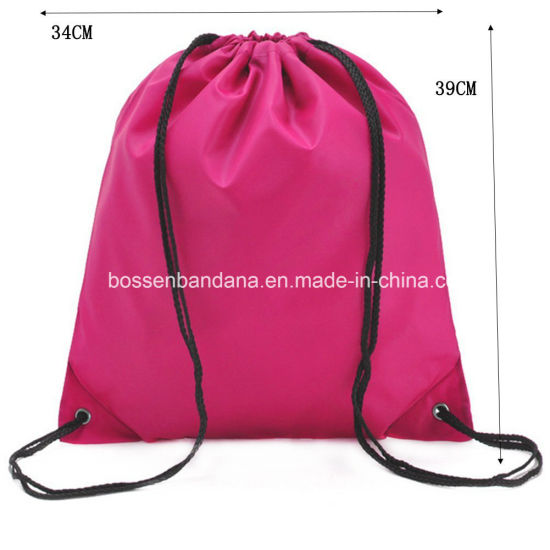 e909d621a5 OEM Cuatom Color Logo Printed Polyester Nylon Folding Drawstring Backpack  Cinch Gym Bags Manufacturer