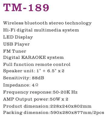 TM-189 2 0 Channel Wireless Bluetooth Stereo HiFi Active Speaker