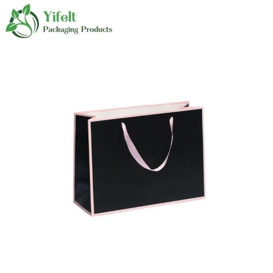 Manufacturer Custom Black Luxury Printed Gift Shopping Paper Gift Bag