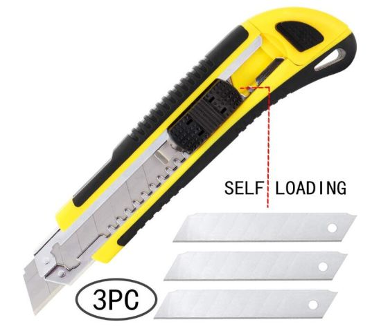 Utility Knife Box Cutter Retractable Self Loading Heavy Duty Snap off Quick Change Extra Blades (3PCS) TPR+PP