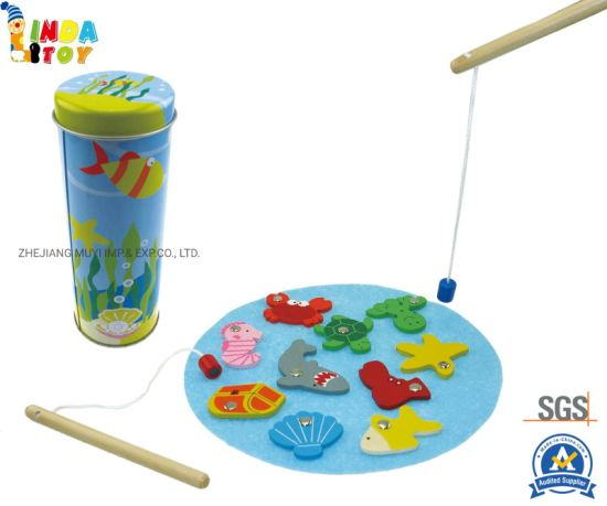 Intellectual Educational Wooden Toys for Kids Gift, 22407 Fishing Tin Game From Lindatoy