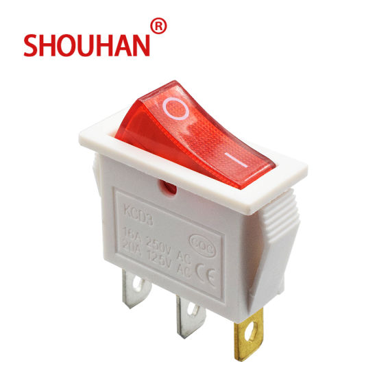 Rocker Switch Kcd3-101-3p Red Color 3 Pin Two Position on-off Switch with LED Light