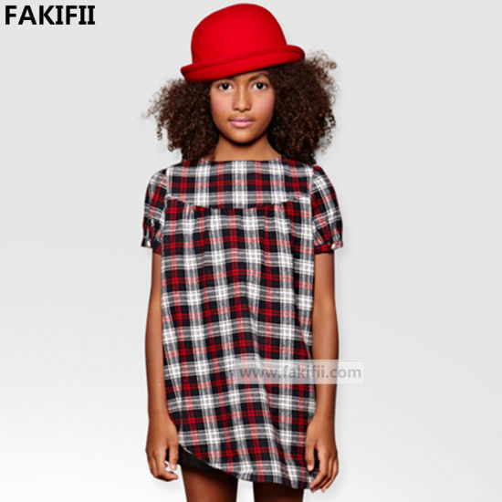 2020 New Collection latest Style Spring&Autumn Cotton Plaid Dress for Girl