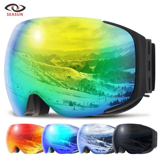 Fashion Mirror Coating Magnetic Exchangeable Snow Ski Goggles with OEM and ODM Design