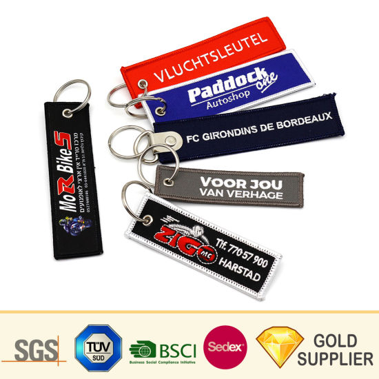 Personalized Promotion Custom Rbf Logo Polyester Woven Metal Leather Label Key Ring Customized Embroidered Patch Key Tag Strap Fabric Embroidery Keychain pictures & photos