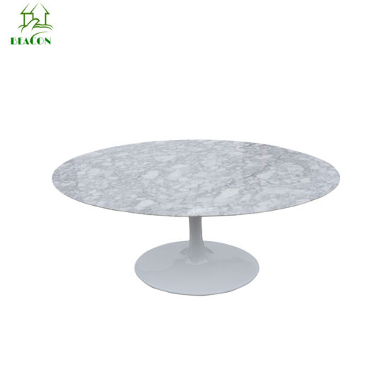 Modern Classic Fiberglass Base Marble Top Oval Tulip Marblel Dining Table pictures & photos
