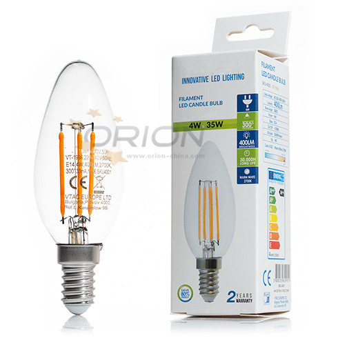 Dimmable Candle LED Filament Bulb 4W LED Light Lamp E14 LED Bulb for Chandelier