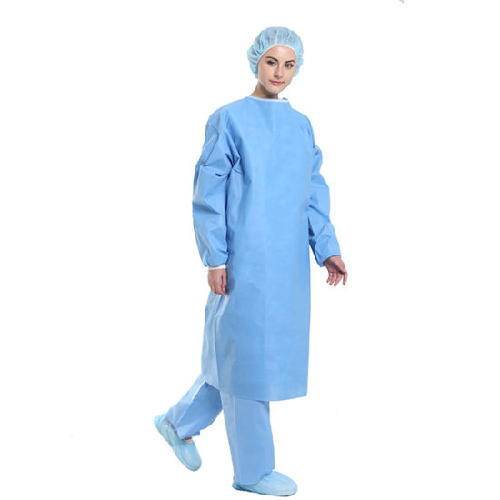 Disposable Eo Sterile SMS Surgical Gown for Hospital Operation Use AAMI Level 2/3 with High Quality Smmms Liquid Blood Flammability Resistance Protective Gown
