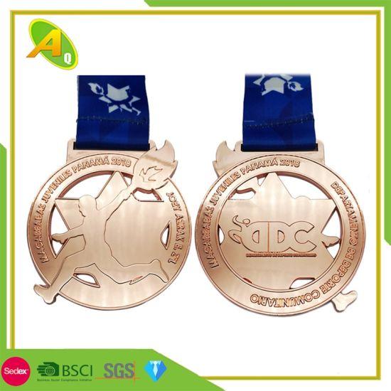 Wholesale Supplier Fashion Logo Promotion Gift Price Metal Crafts Custom Designs High Quality Zinc Alloy Casting Gold Marathon Running Race Sport Award Medal