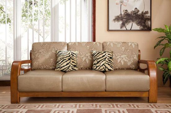 China New Model Fabric Cushion Living Room Wooden Sofa Set China